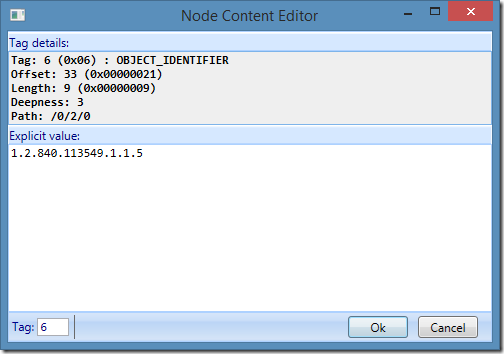 ASN.1 Editor - Node data editor