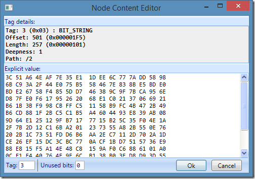 ASN.1 Editor - Node data hex editor