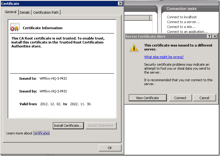 Server Certificate Alert: The certificate was issued to a different server.