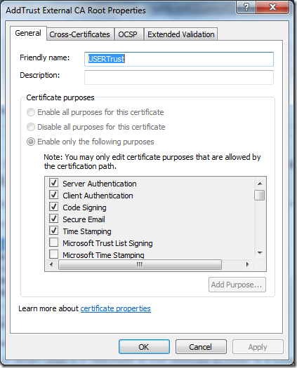 How to retrieve certificate purposes property with CryptoAPI and
