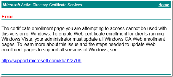 Web Enrollment pages fails after MS11-051 patch installation