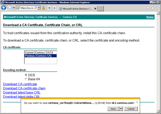 you cannot download ca certificate from web enrollment pages