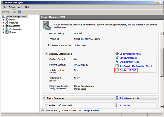Configure IE ESC in Server Manager