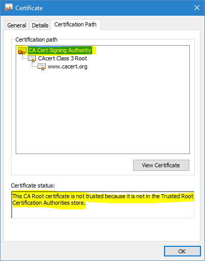 Untrusted certification path