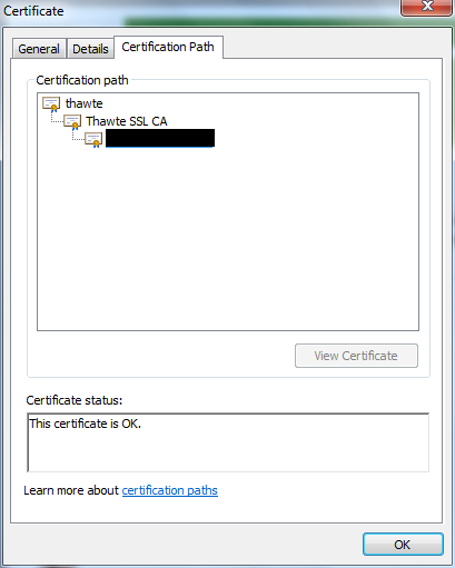 Thawte issued certificate full chain
