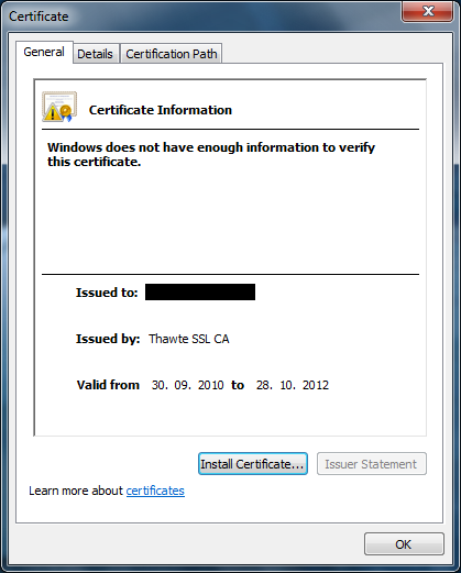 Thawte issued certificate partial chain