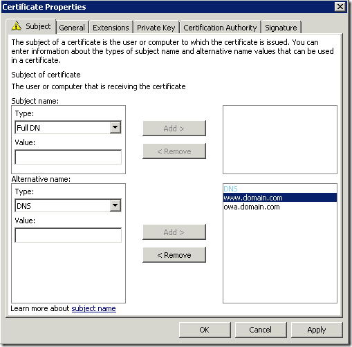 Configure certificate subject names