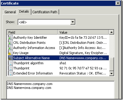 Web server certificate enrollment with SAN extension - PKI Extensions