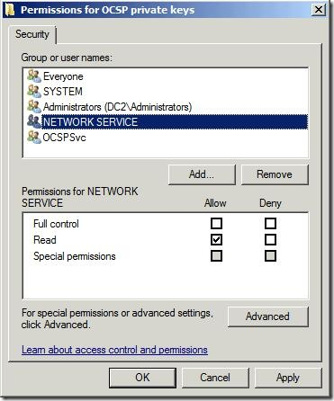 Permissions for OCSP Private Key