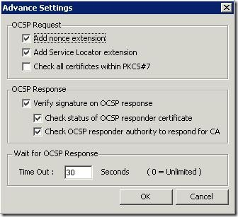 OCSP Client Tool Advanced Settings