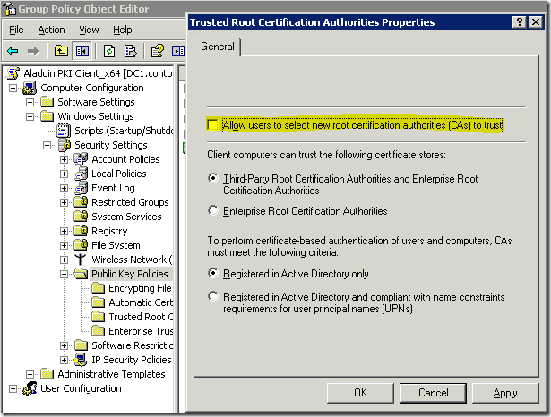 Trusted Root Certification Authorities settings in Windows Server 2003