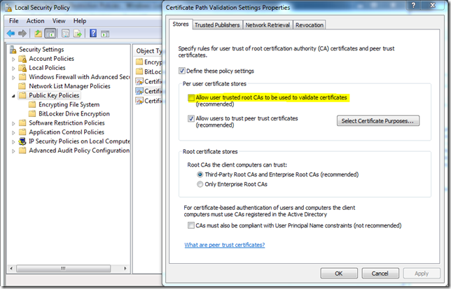 Certificate Path Validation Settings in Windows Server 2008 R2