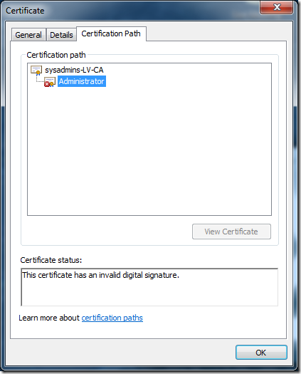 Altered certificate certification path