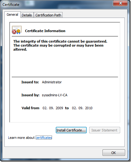 Altered certificate General tab