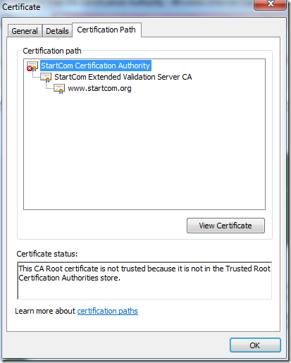 Invalid certification path with untrusted root