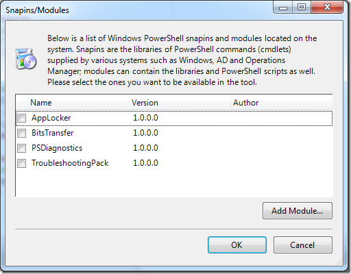 Powershell Snapins and Modules in PowerGUI