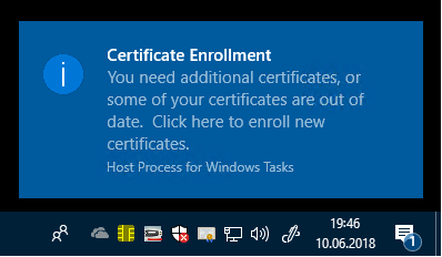Certificate enrollment balloon user interface that requires user input