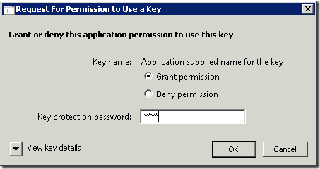 Private key strong protection permission request