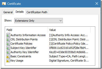 extensions of intermediate CA certificate