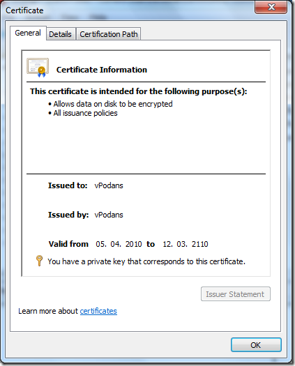 Self-signed EFS certificate