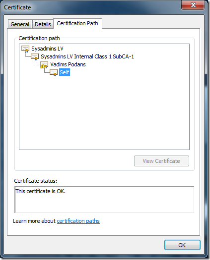 This certificate is not valid for the selected purpose #2